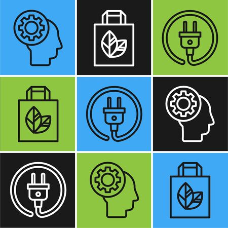 Set line Human head with gear inside, Electric plug and Paper shopping bag with recycle icon. Vector