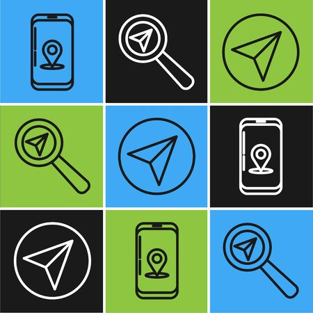 Set line Infographic of city map navigation, Paper airplane and Search location icon. Vector Ilustração
