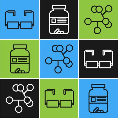 Set line Glasses, Molecule and Medicine bottle and pills icon. Vector