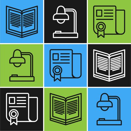 Set line Open book, Certificate template and Table lamp icon. Vector