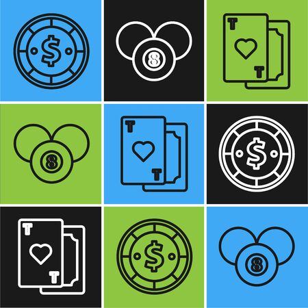 Set line Casino chip with dollar, Playing card with heart and Billiard pool snooker 8 ball icon. Vector