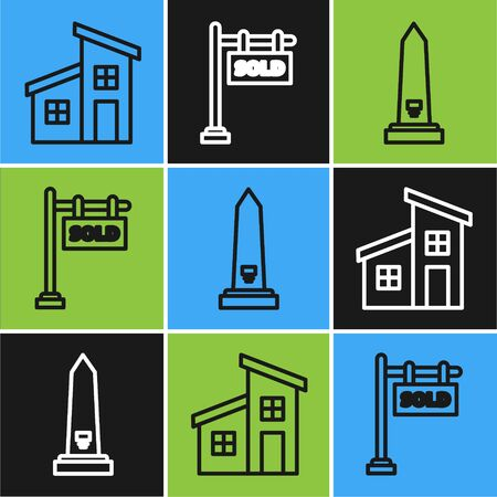Set line House, Washington monument and Hanging sign with text Sold icon. Vector Çizim