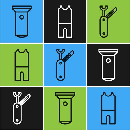 Set line Flashlight, Swiss army knife and Wetsuit for scuba diving icon. Vector Ilustração
