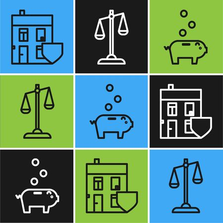 Set line House with shield, Piggy bank with coin and Scales of justice icon. Vector