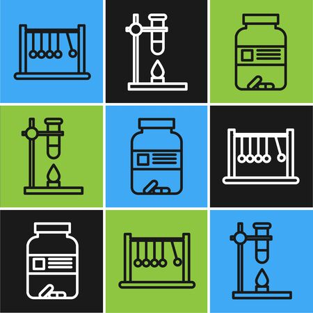 Set line Pendulum, Medicine bottle and pills and Glass test tube flask on fire heater icon. Vector