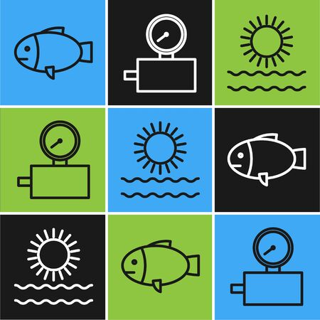 Set line Fish, Sun and waves and Gauge scale icon. Vector