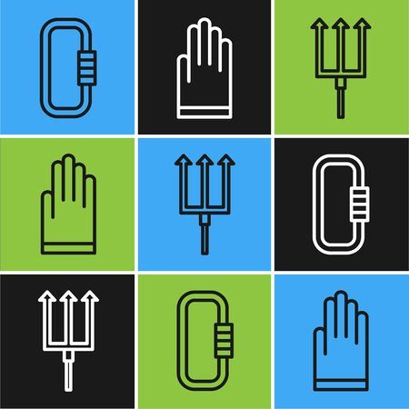 Set line Carabiner, Neptune Trident and Gloves icon. Vector