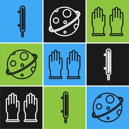 Set line Meteorology thermometer measuring, Rubber gloves and Planet icon. Vector