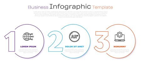 Set line Global technology or social network, Ar, augmented reality and Laptop and gear. Business infographic template. Vector Illusztráció