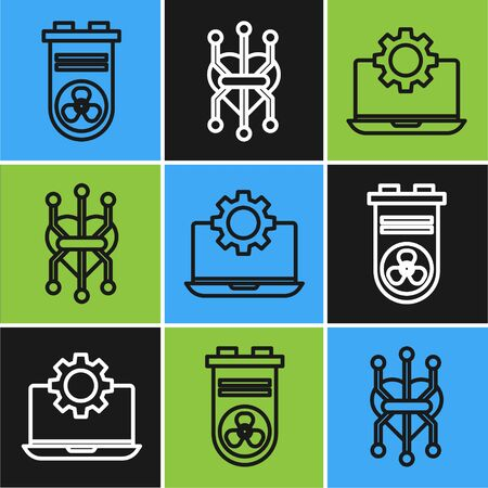 Set line Video graphic card, Laptop and gear and Processor icon. Vector
