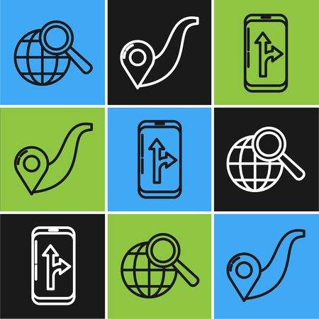 Set line Magnifying glass with globe, Infographic of city map navigation and Route location icon. Vector