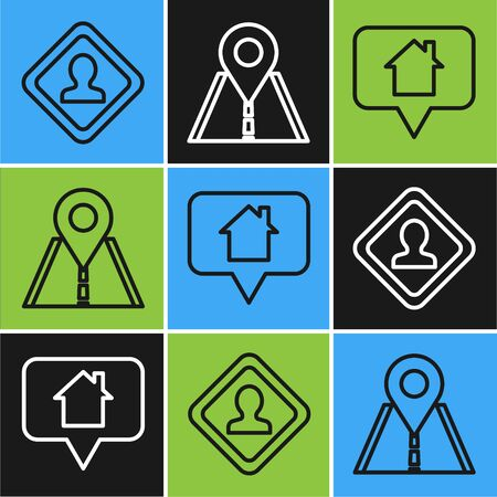 Set line Road traffic sign, Map pointer with house and Road traffic sign icon. Vector Ilustração