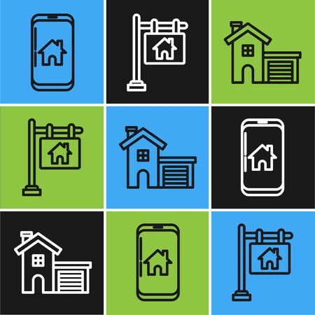 Set line Mobile phone with smart home, House and Hanging sign with text Sale icon. Vector