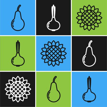 Set line Pear, Sunflower and Onion icon. Vector