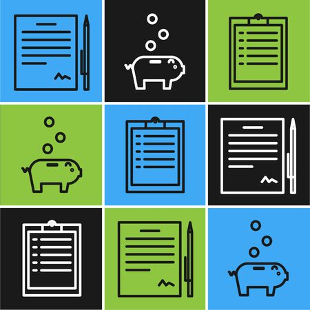 Set line Contract with pen, Clipboard with checklist and Piggy bank with coin icon. Vector Ilustrace
