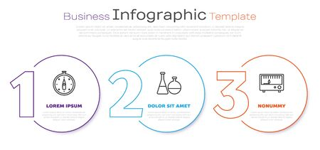 Set line Compass, Test tube and flask chemical laboratory and Electrical measuring instruments. Business infographic template. Vector