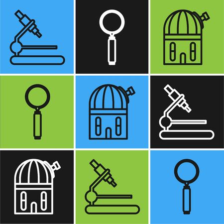 Set line Microscope, Astronomical observatory and Magnifying glass icon. Vector