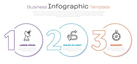 Set line Radar, Route location and Compass. Business infographic template. Vector
