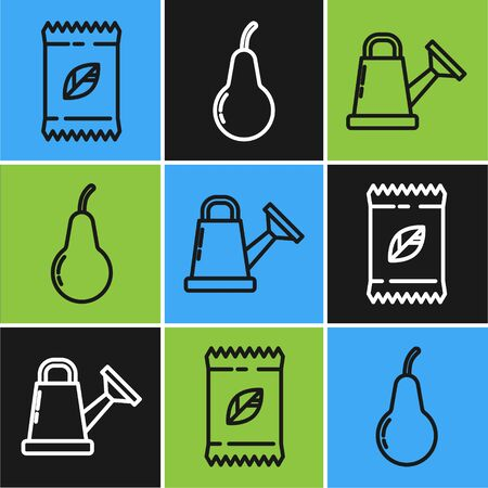 Set line A pack full of seeds of a specific plant, Watering can and Pear icon. Vector