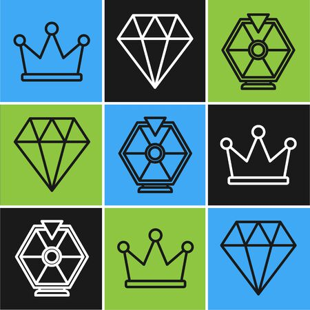 Set line Crown, Lucky wheel and Diamond icon. Vector 向量圖像