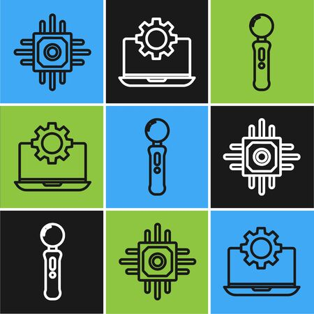 Set line Processor, Gamepad and Laptop and gear icon. Vector