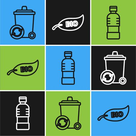 Set line Recycle bin with recycle symbol, Bottle of water and Leaf Bio symbol icon. Vector