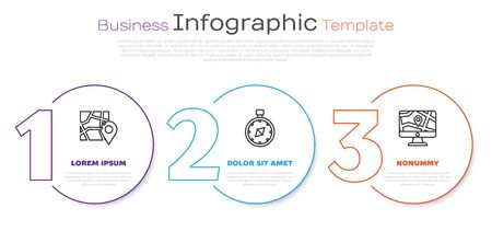 Set line Folded map with location marker, Compass and Monitor and folded map with location. Business infographic template. Vector