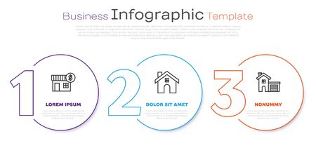 Set line House with dollar symbol, House and House. Business infographic template. Vector
