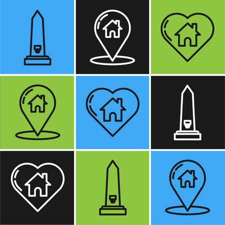 Set line Washington monument, House with heart shape and Map pointer with house icon. Vector