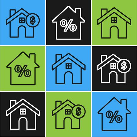 Set line House with dollar symbol, House and House with percant discount tag icon. Vector
