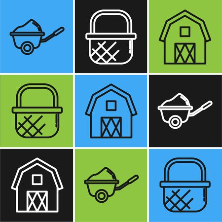 Set line Wheelbarrow with dirt, Farm House concept and Shopping basket icon. Vector Illusztráció