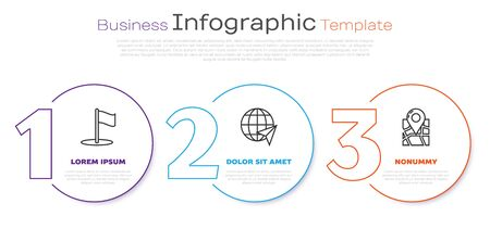 Set line Flag, Location on the globe and Folded map with location marker. Business infographic template. Vector