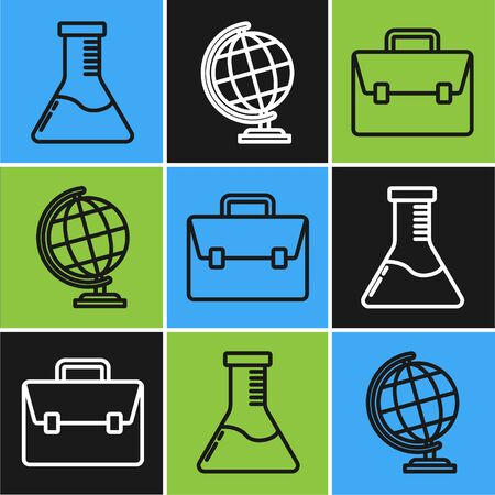 Set line Test tube and flask chemical laboratory, Briefcase and Earth globe icon. Vector