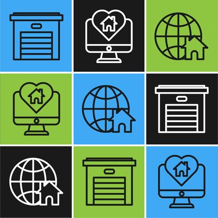 Set line Garage, Globe with house symbol and Monitor with house in heart shape icon. Vector