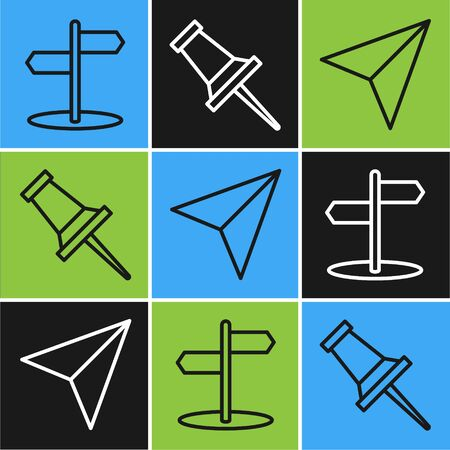 Set line Road traffic sign, Paper airplane and Push pin icon. Vector