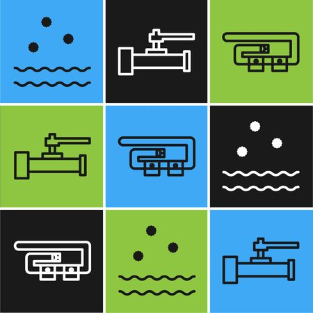Set line Cold and waves, Diving belt and Industry metallic pipes and valve icon. Vector Stock Illustratie