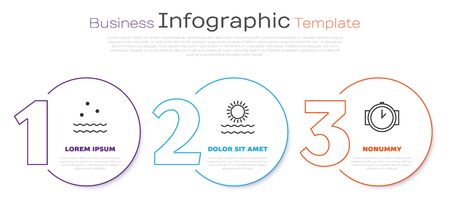 Set line Cold and waves, Sun and waves and Diving watch. Business infographic template. Vector