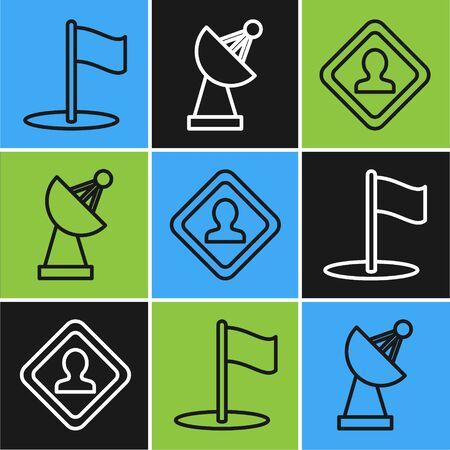 Set line Flag, Road traffic sign and Radar icon. Vector Ilustração