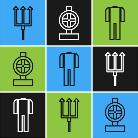 Set line Neptune Trident, Wetsuit for scuba diving and Industry metallic pipes and valve icon. Vector Illustration