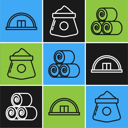 Set line Hangar, Roll of hay and Bag of flour icon. Vector