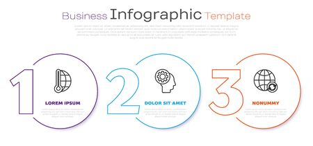 Set line Meteorology thermometer measuring, Human head with gear inside and Planet earth and a recycling. Business infographic template. Vector