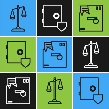Set line Scales of justice, Ordered envelope and Safe with shield icon. Vector Ilustración de vector