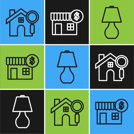Set line Search house, Table lamp and House with dollar symbol icon. Vector  イラスト・ベクター素材