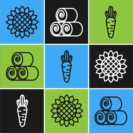 Set line Sunflower, Carrot and Roll of hay icon. Vector Ilustracja