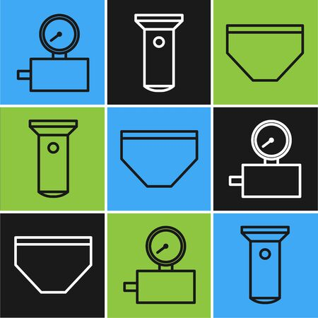 Set line Gauge scale, Swimming trunks and Flashlight icon. Vector