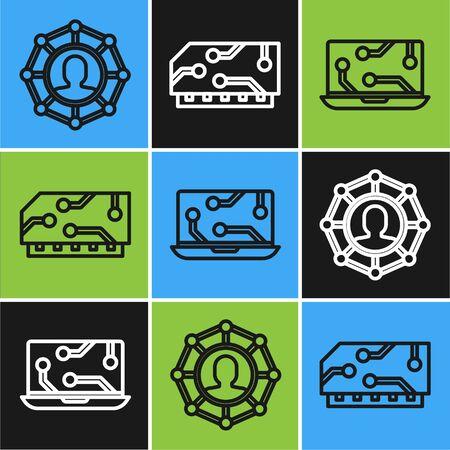 Set line Project team base, Laptop and RAM, random access memory icon. Vector Illusztráció