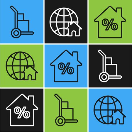 Set line Hand truck and boxes, House with percant discount tag and Globe with house symbol icon. Vector