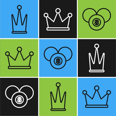 Set line Crown, Billiard pool snooker 8 ball and Crown icon. Vector