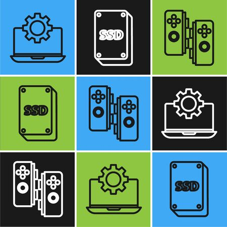 Set line Laptop and gear, Gamepad and SSD card icon. Vector