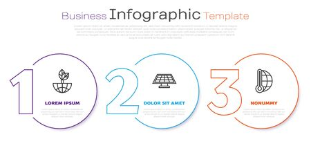 Set line Earth globe and leaf, Solar energy panel and Meteorology thermometer measuring. Business infographic template. Vector